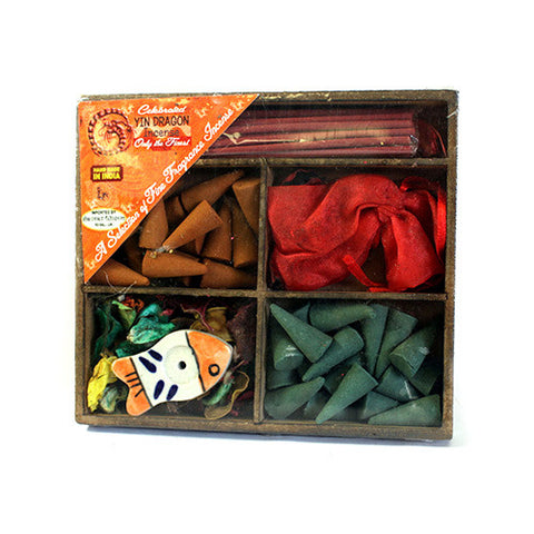 Sq Box Sticks, Cones, Holder & Sachet - Gift Incense Pack