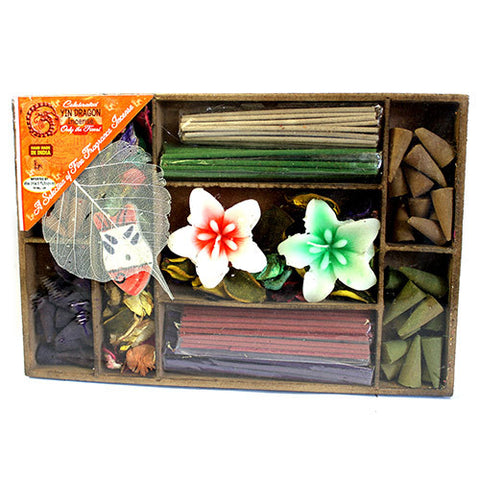 Lrg Box Sticks, Cones, Candles & Holder - Gift Incense Pack