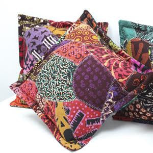 4x Java Batik Patchwork Cushion 40x40cm