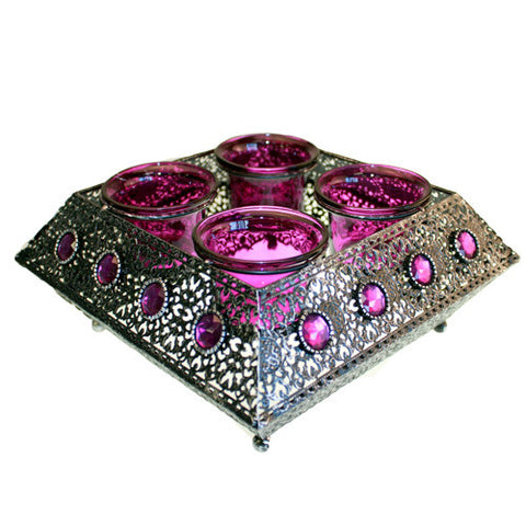 Moorish Quad Lrg Square Candle Holder