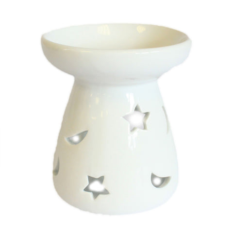 Small Classic White Oil Burner - Moon & Star