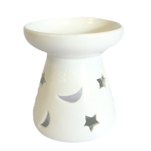 Large Classic White Oil Burner - Moon & Star
