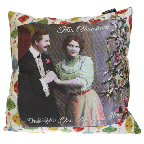 Art Cushion Cover - Give Me Your Heart - Retro Christmas