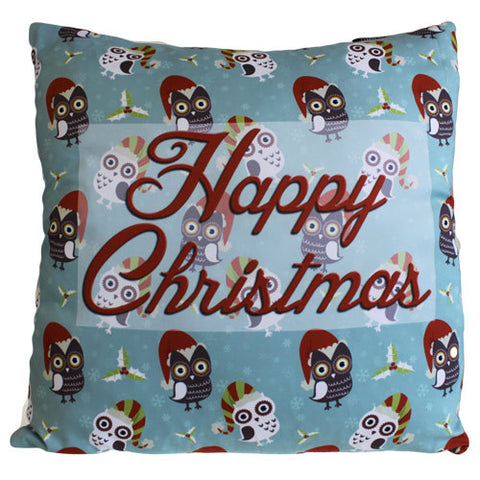 Art Cushion Cover - Happy Christmas Many Owls