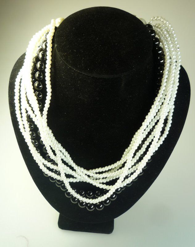 Perilous Pearls Black & White Twist Necklace