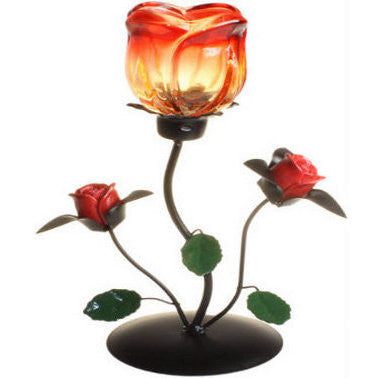 Single Rose Standing Romantic Candle Holder