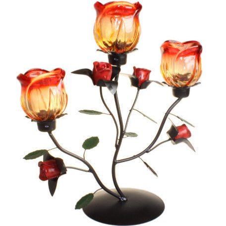 Triple Rose Standing Romantic Candle Holder