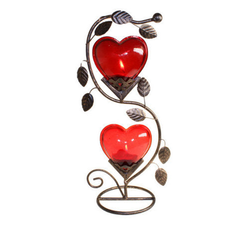 Double Big Heart Romantic Candle Holder