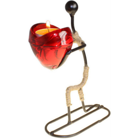 Man Gives Heart Candle Holder