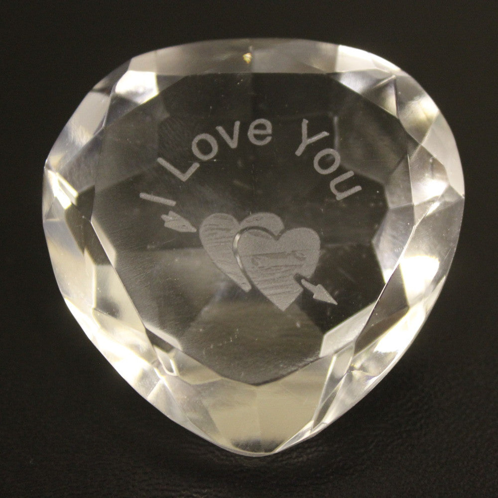 I Love You & Heart Clear Crystal Heart