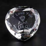 I Love You Dad & Rose Clear Crystal Heart