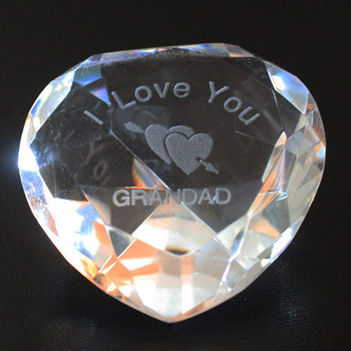 I Love you Grandad & Clear Crystal Heart