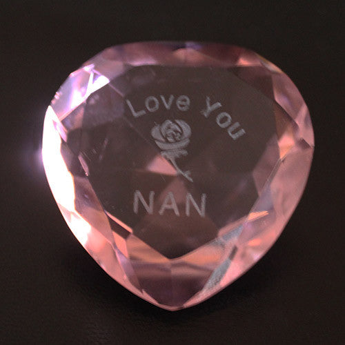 I Love You Nan & Rose Pink Crystal Heart