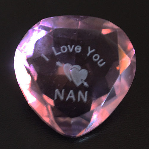 I Love you Nan And Heart Pink Crystal Heart