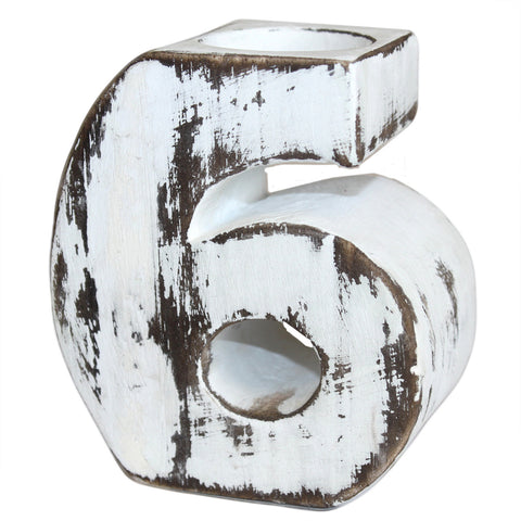 Wooden Birthday Number Candle Holder - No. 6