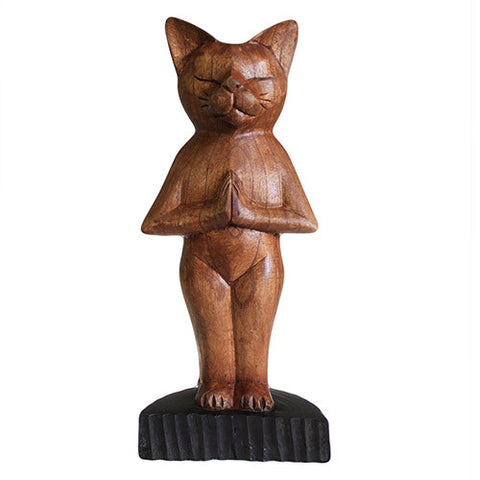 Handcarved Yoga Cats - Standing