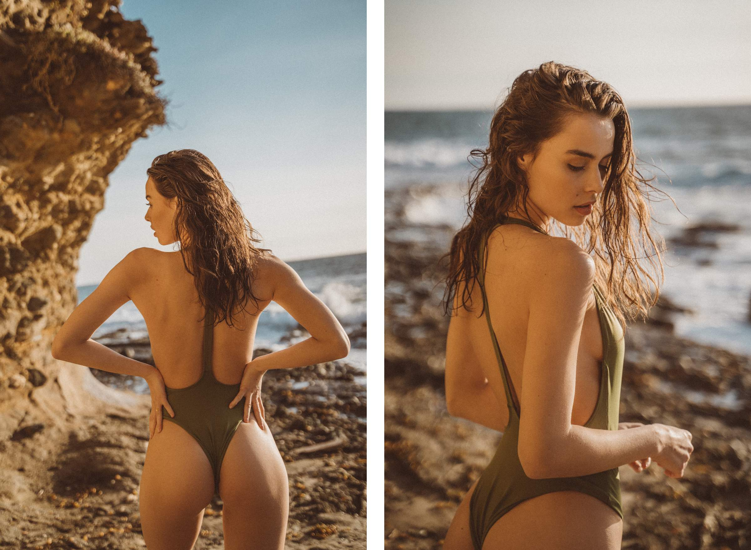 Dusk Deep V One-Piece in Olive