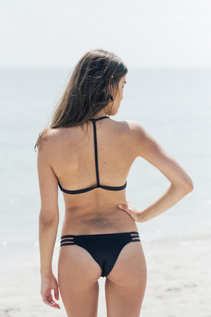 Saltish Bikini Top in Black by Tuhkana Swimwear