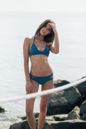 Saltish Bikini Top in Top Blue by Tuhkana Swimwear