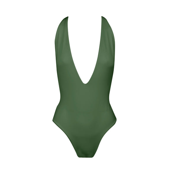 Dusk Deep V One Piece Swimsuit in Olive by Tuhkana Swimwear