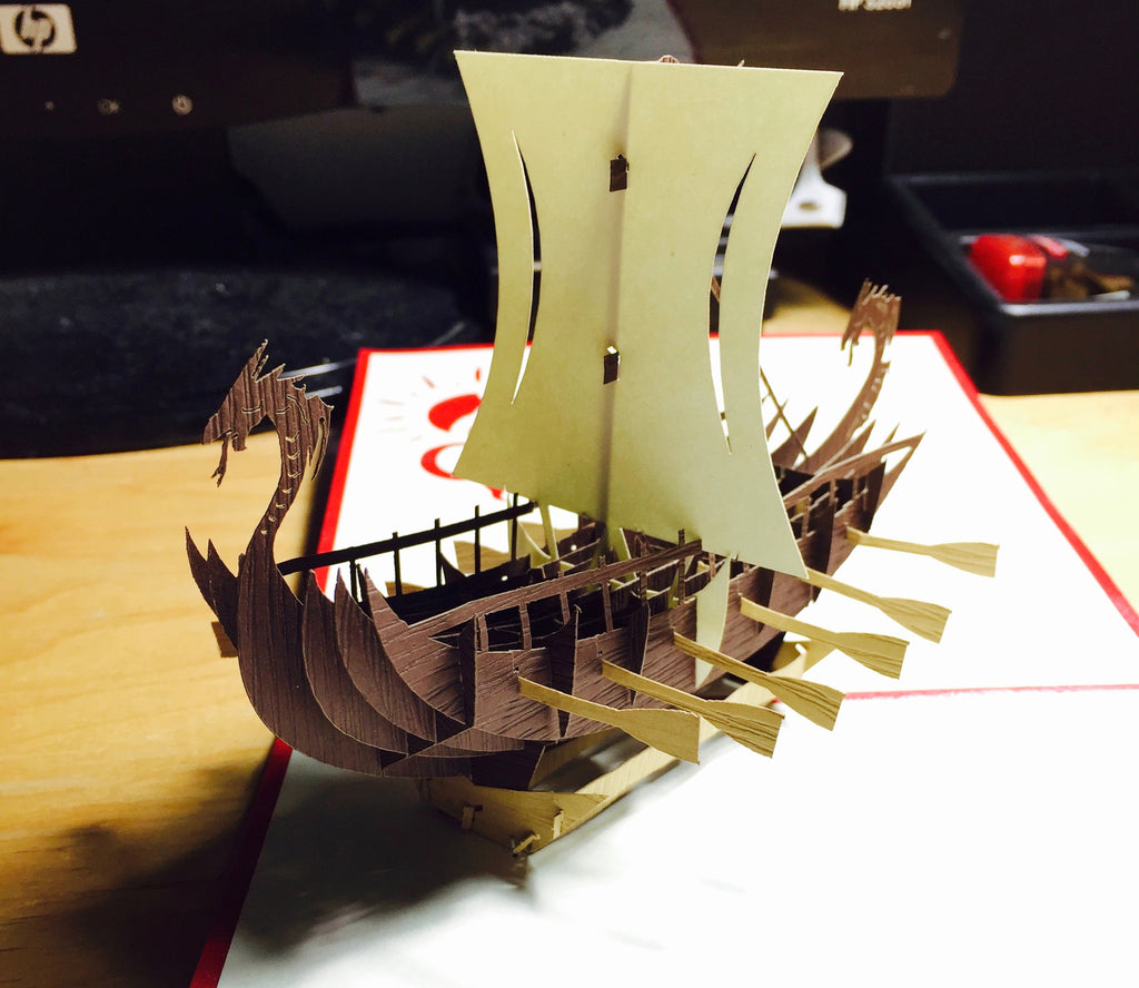 Viking Ship - Pop up Card- An Impressive Gift for Viking Fans