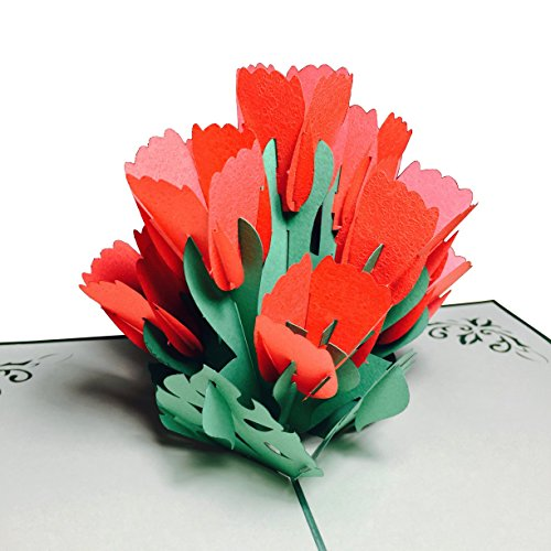 Red Tulip Flower Pop Up Card Wow Pop Up Card