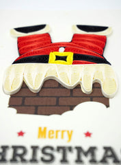 Santa stuck in Chimney Quilling Card