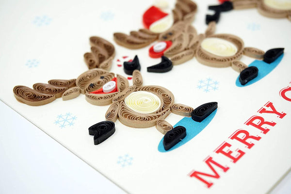 3 Reindeers Quilling Card