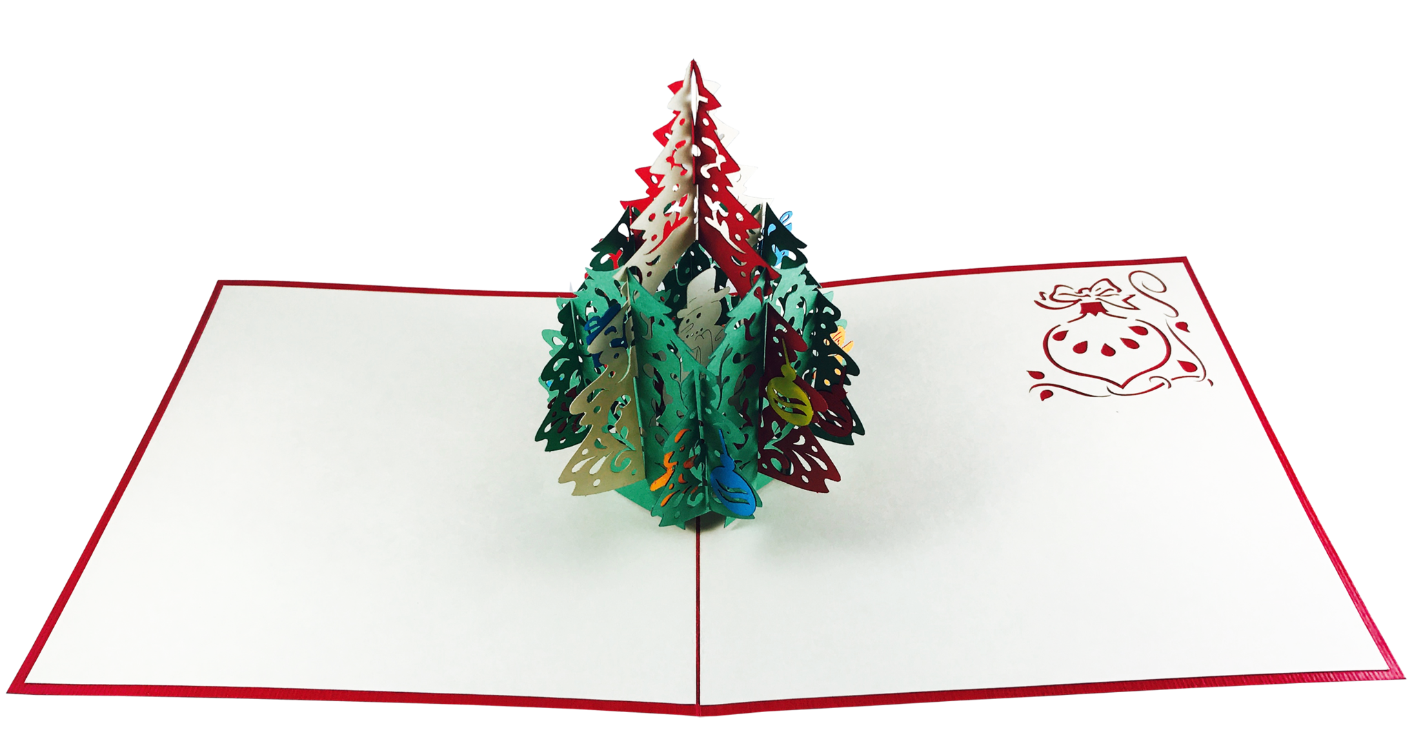 christmas pine tree with ornaments  pop up card  wow pop