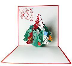 Christmas Pine Tree with Ornaments - Pop Up Card