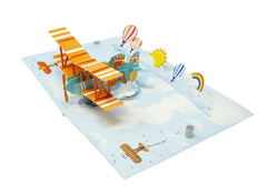 Rainbow Biplane - WOW 3D Pop Up Greeting Card