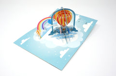 Rainbow Hot Air Balloon - WOW 3D Pop Up Greeting Card