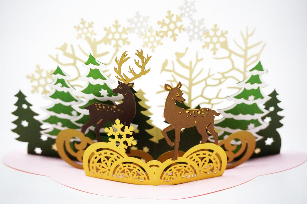 Christmas Pop Up Cards.Christmas Forest Christmas Pop Up Card