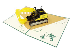 Excavator - WOW 3D Pop Up Greeting Card