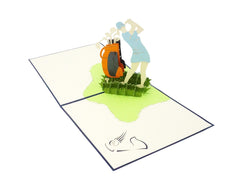 Female Golf Player - WOW 3D Pop Up Greeting Card