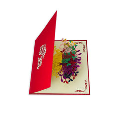 Rainbow Rose vase - WOW 3D Pop Up Card