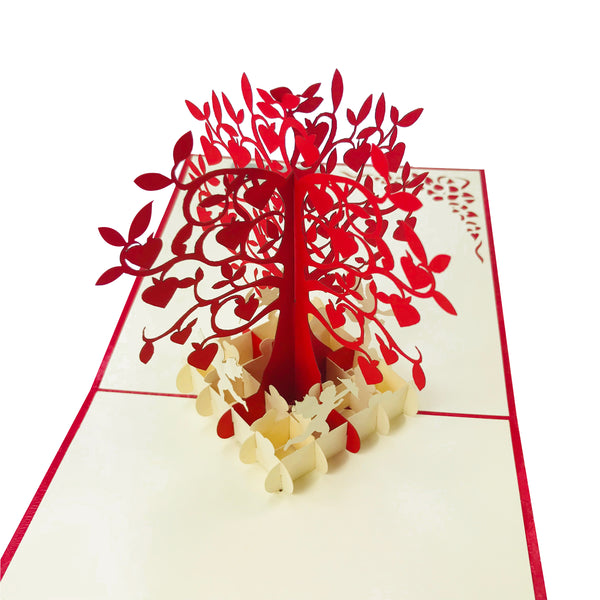 Wow Red Love Tree with Cupids - 3D Pop Up Greeting Card for All Occasions Birthday, Love, Anniversary, Good Bye, Thank you, Mother Day, Valentine, Friendship, Get Well - Premium Paper, Handcrafted