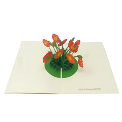 Wow Poppy Flower - 3D Pop Up Greeting Card