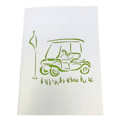 Wow Golf Cart - 3D Pop Up Greeting Card Gift for All Occasions Birthday, Love, Congratulations, Good Luck, Anniversary, Get Well, Good Bye, Father's Day, Cool Kids, Retirement - Premium, Handcrafted