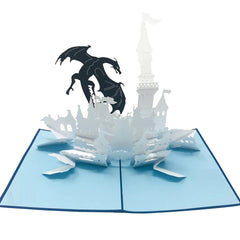 Wow Dragon Castle - 3D Pop Up Greeting Card for All Occasions Birthday,Love,Congratulations,Good luck,Anniversary,Get well,Good bye,Father,Retirement,Cool Fun Kids - Premium Paper, Handcrafted