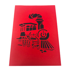 WOW Classic Steam Train - 3D Pop Up Greeting Card for All Occasions Birthday, Love, Congratulations, Good Luck, Anniversary, Get Well, Good Bye, Father's Day, Kids, Retirement - Premium, Handcrafted