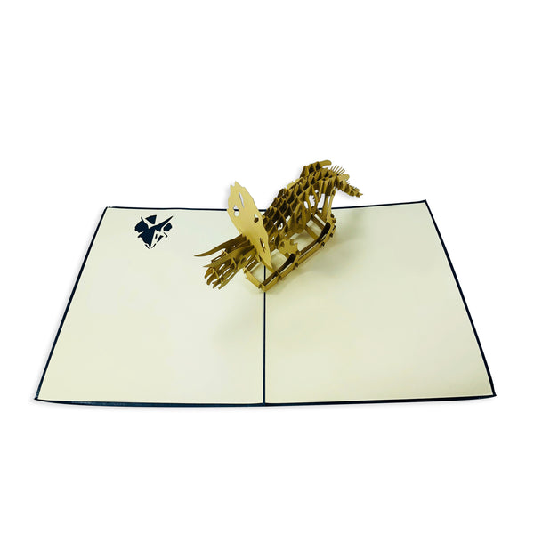 Wow Triceratops Dinosaur - 3D Pop Up Greeting Card