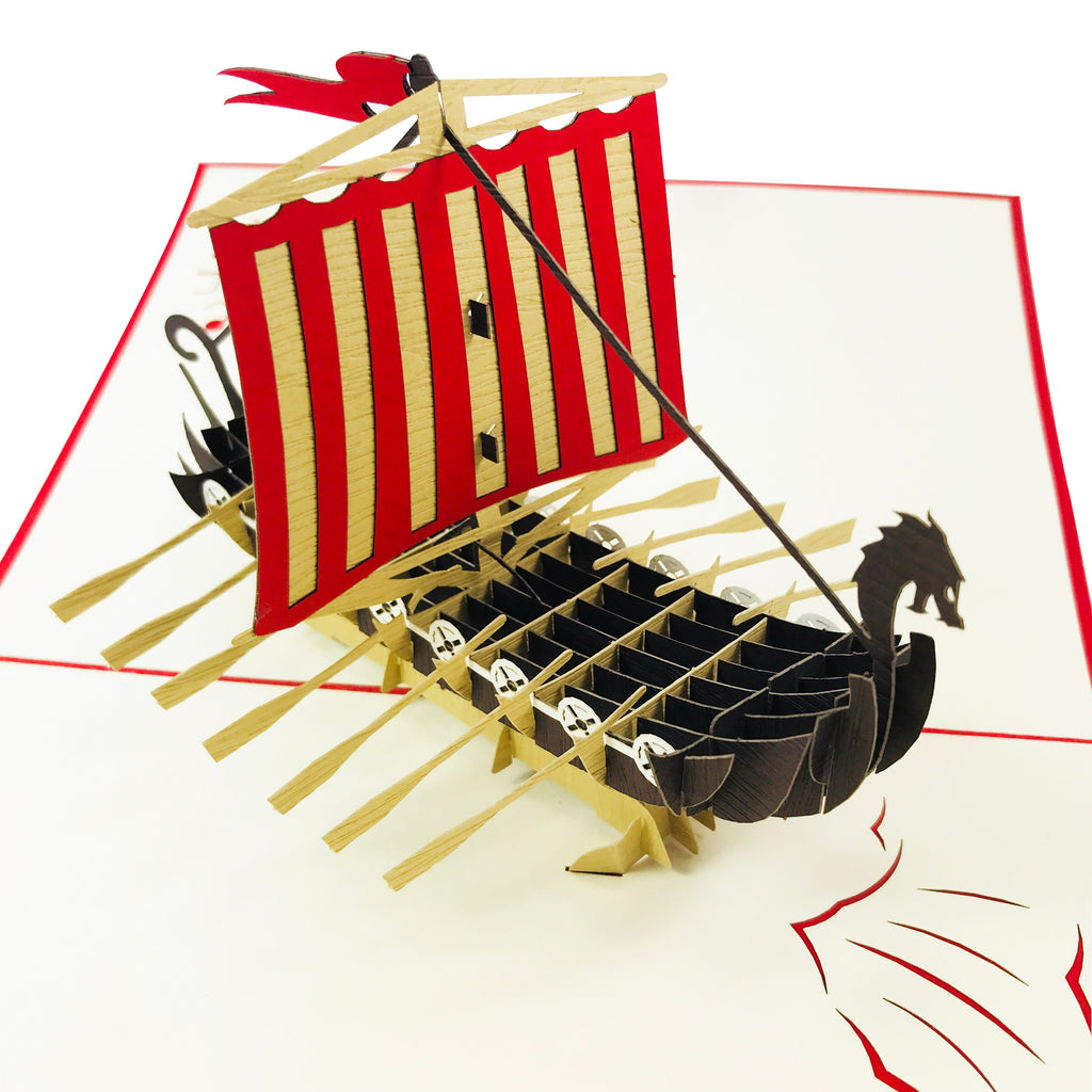 Viking Longboat Card Pop Up Wooden Gift Card Building Construction