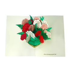 Rose Flower Vase - WOW 3D 2 Layers Message Pop Up Card