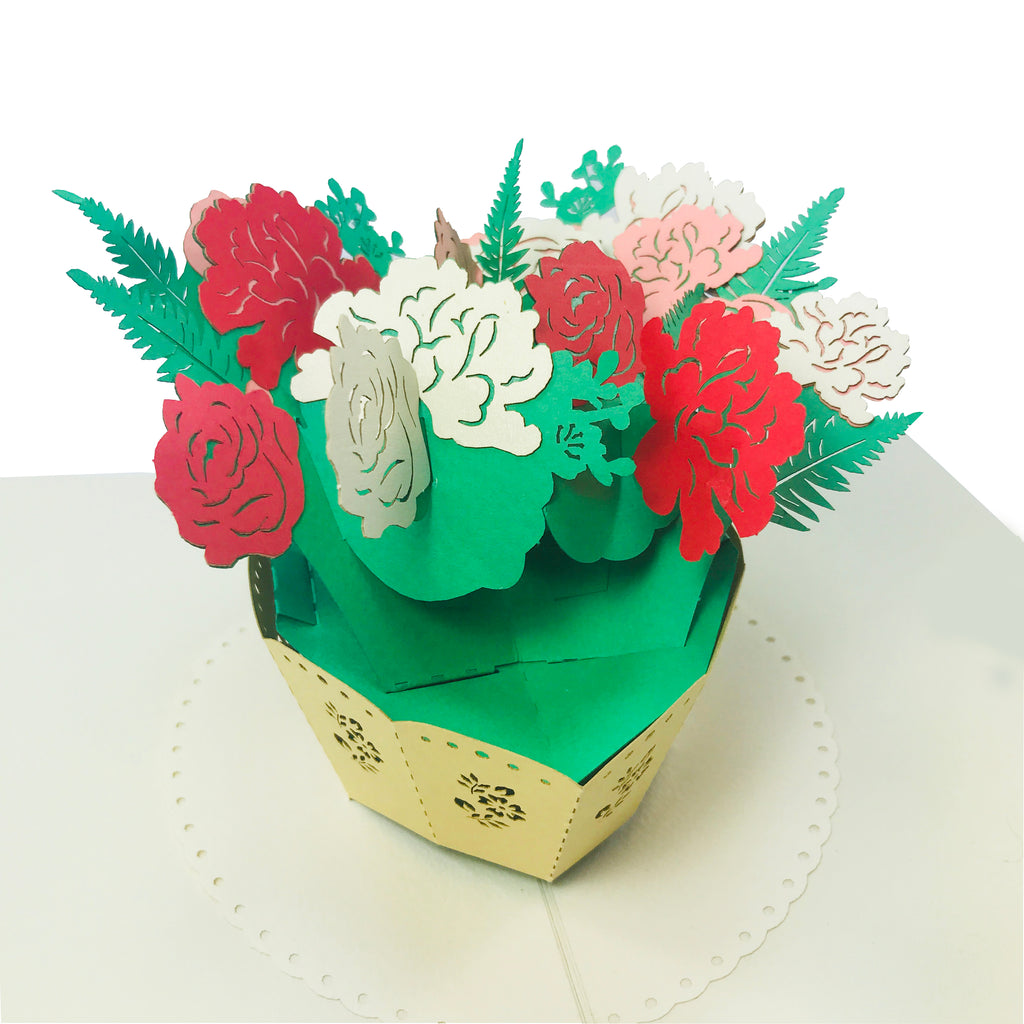 225 & Rose Flower Vase - WOW 3D 2 Layers Message Pop Up Card