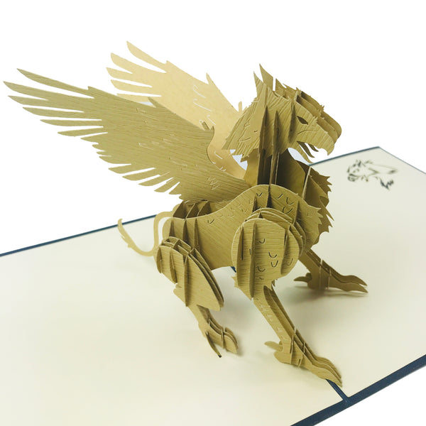 Wow The Griffin - 3D Pop Up Greeting Card for All Occasions Birthday, Love, Congratulations, Good luck, Anniversary, Father day,Cool Fun Kids,Thank you - Gryphon Lion Eagle, Premium Paper, Handcrafted
