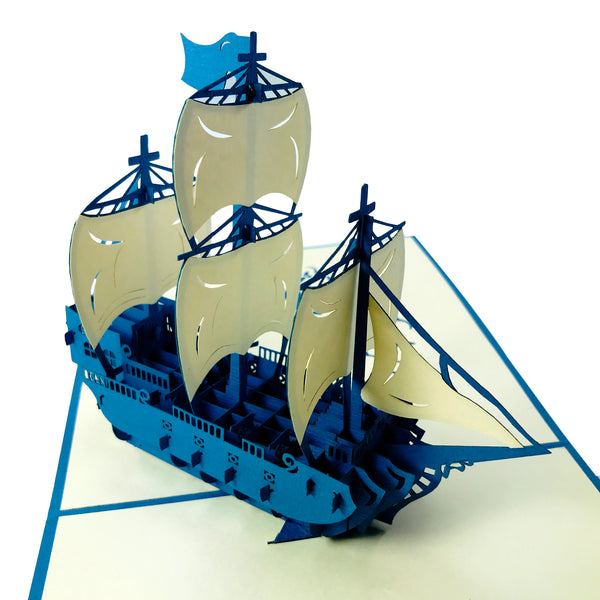 Blue Ocean Ship - Pop Up Card