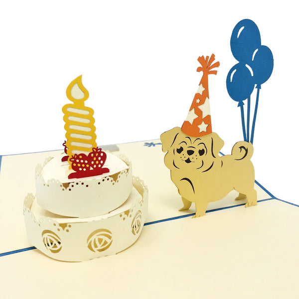 Birthday Pug - WOW 3D Pop Up Card