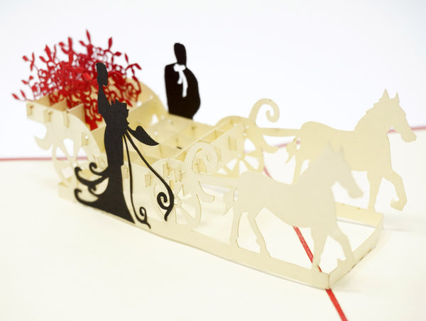 Rose Flower Carriage - WOW 3D Pop Up Greeting Card