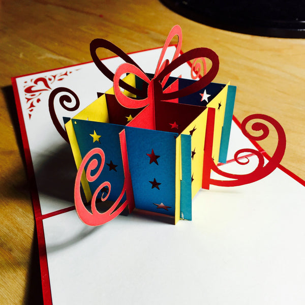 Birthday Gift Box - Pop Up Card - Pop Up Cards - Handmade Card - WOWPaperArt